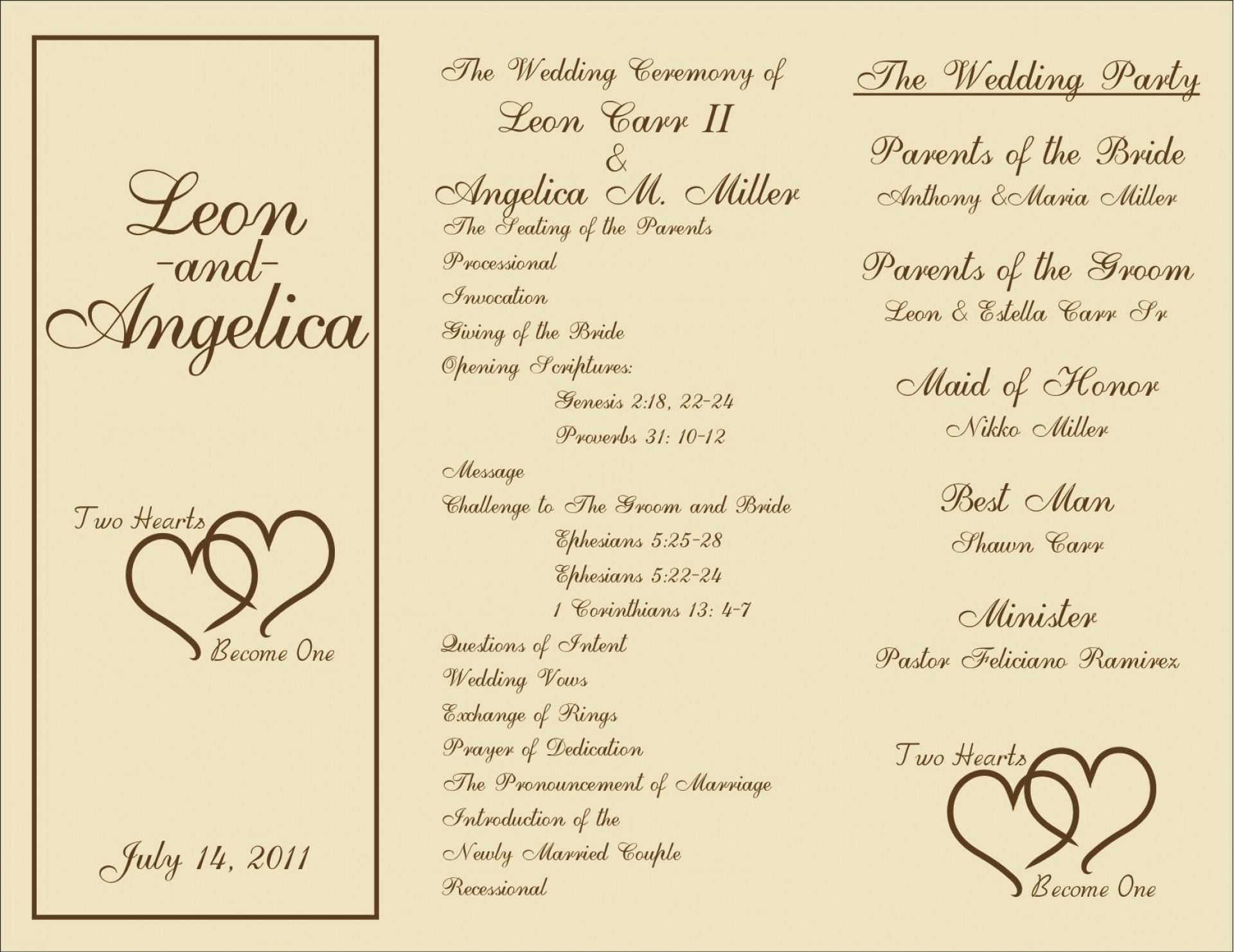 005 Beautiful Template For Wedding Program Idea  Word Free Catholic1920