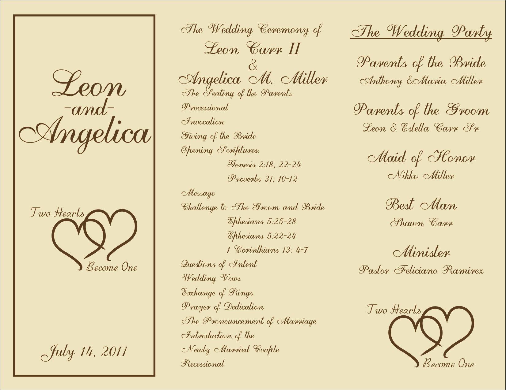 005 Beautiful Template For Wedding Program Idea  Word Free CatholicFull