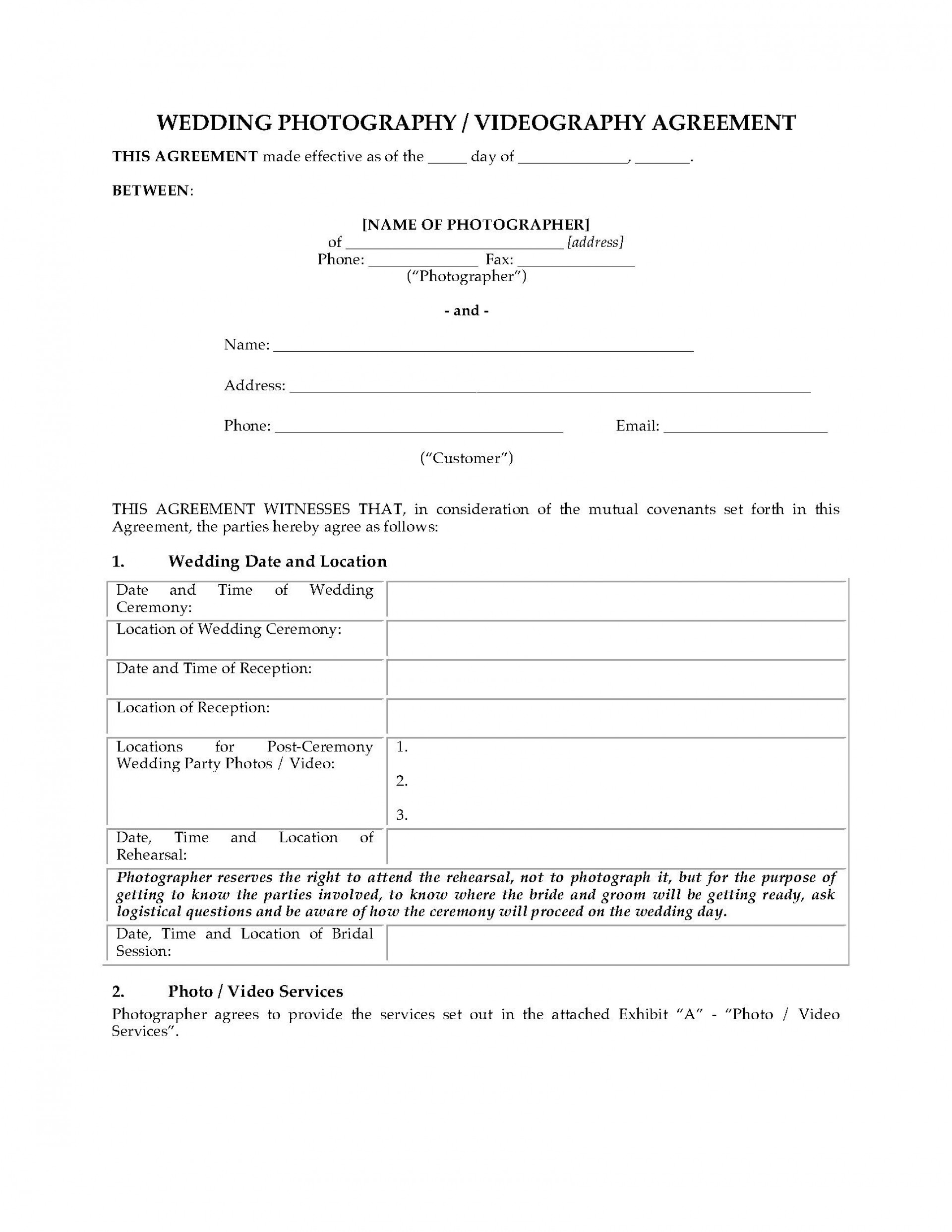 005 Beautiful Wedding Videographer Contract Template Example  Videography Pdf1920