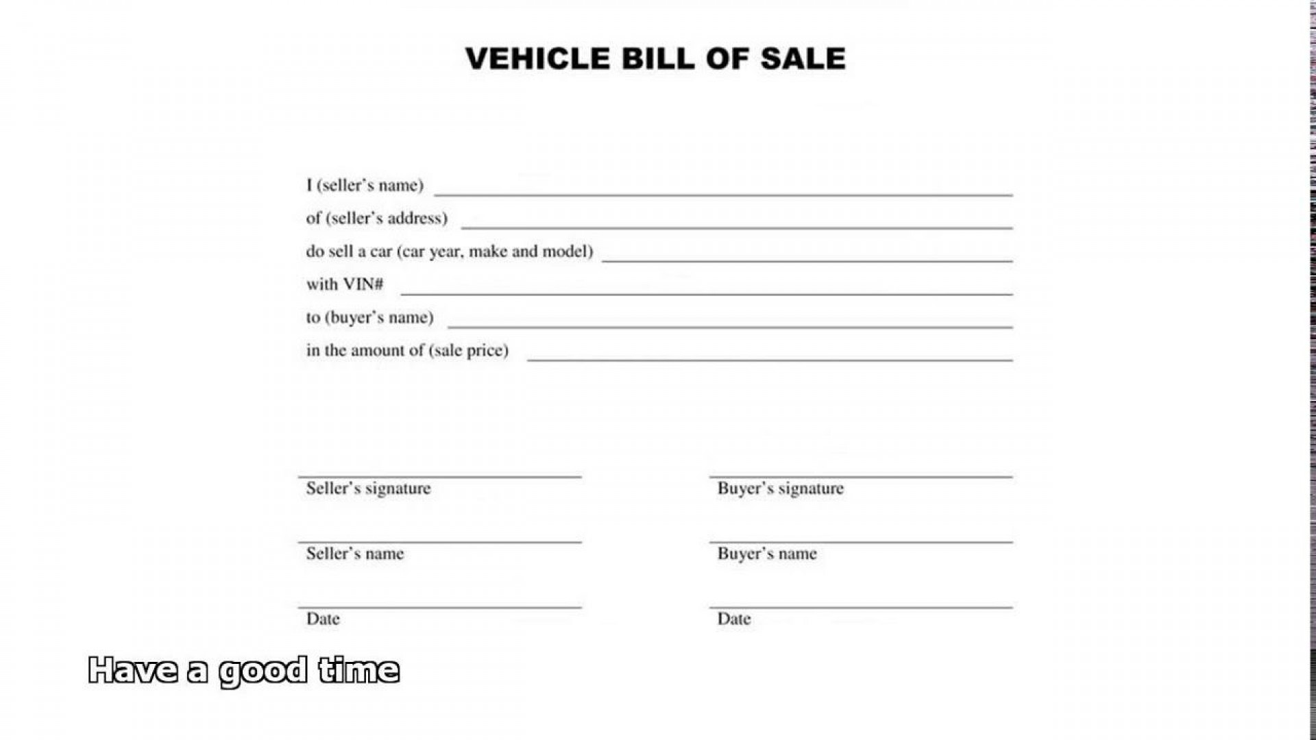 005 Best Automobile Bill Of Sale Template Design  Word Vehicle Fillable Pdf Texa With Notary1920