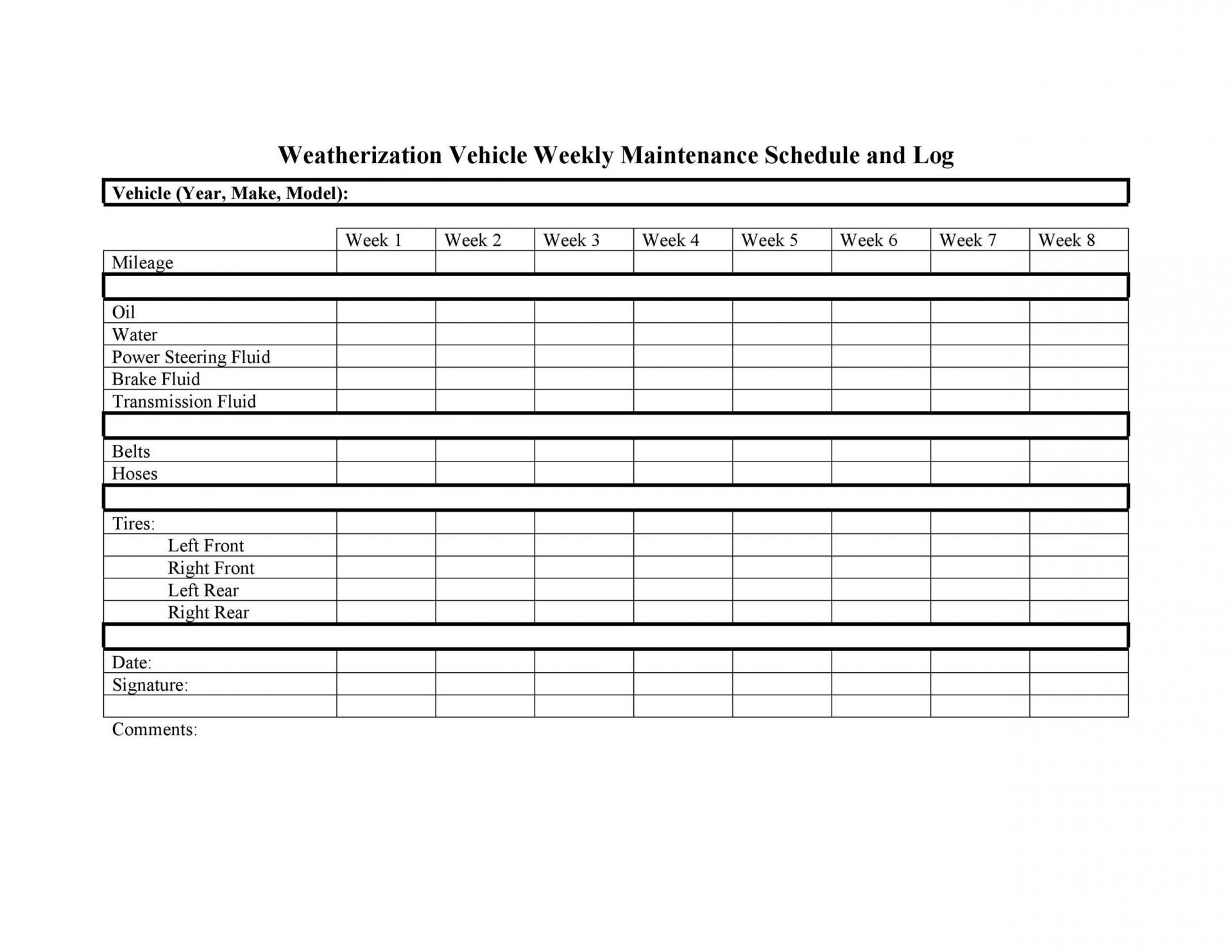 005 Best Car Maintenance Schedule Template High Resolution  Vehicle Preventive Excel Log1920