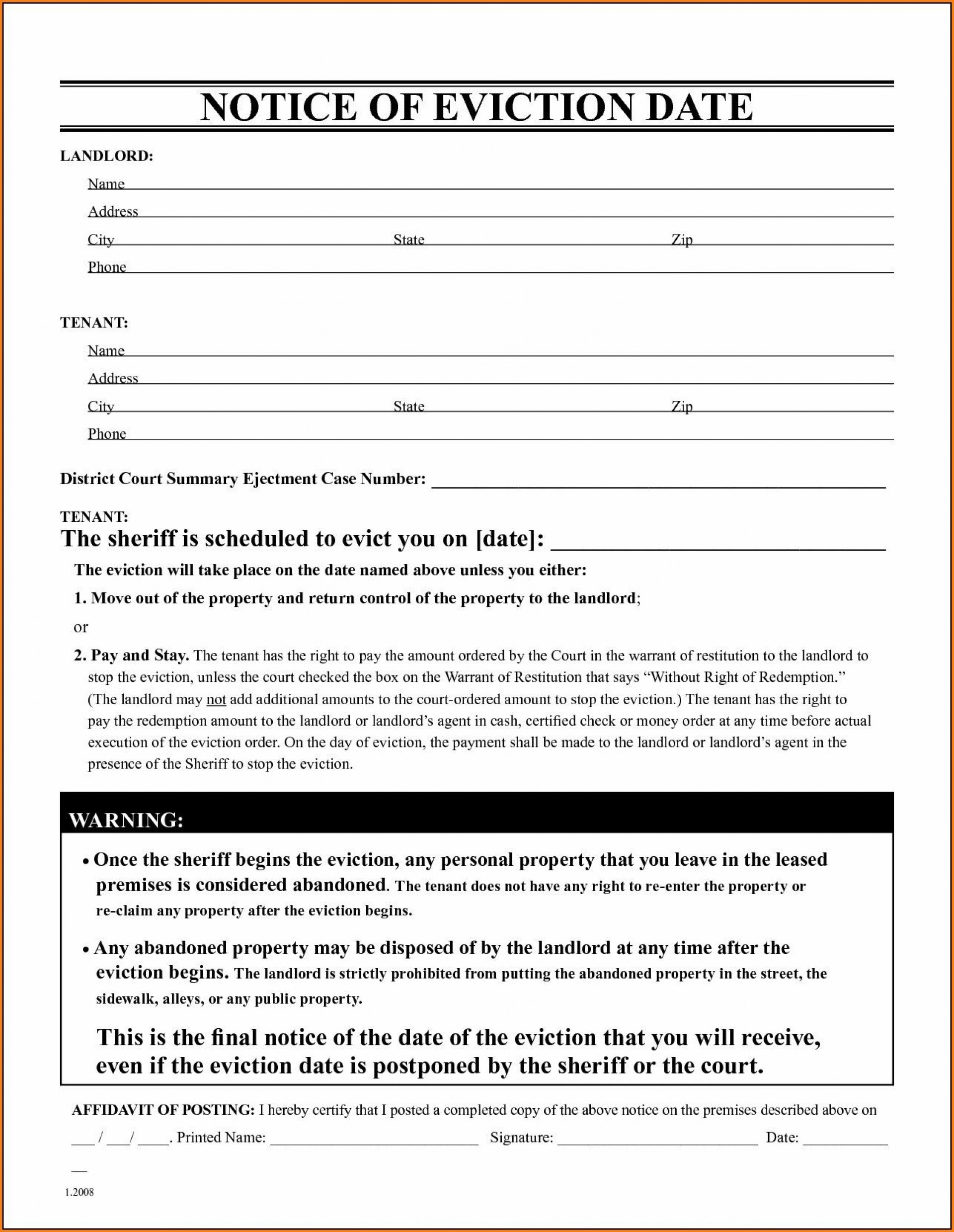005 Best Eviction Notice Template Free Inspiration  30 Day Uk Word Document1920