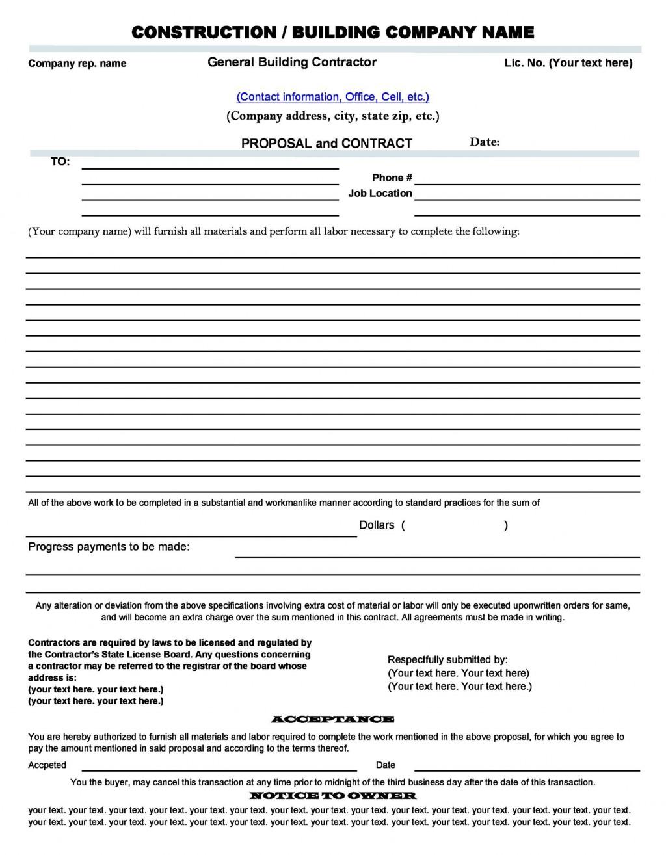 005 Best Free Construction Proposal Template Example  Bid Contractor WordLarge