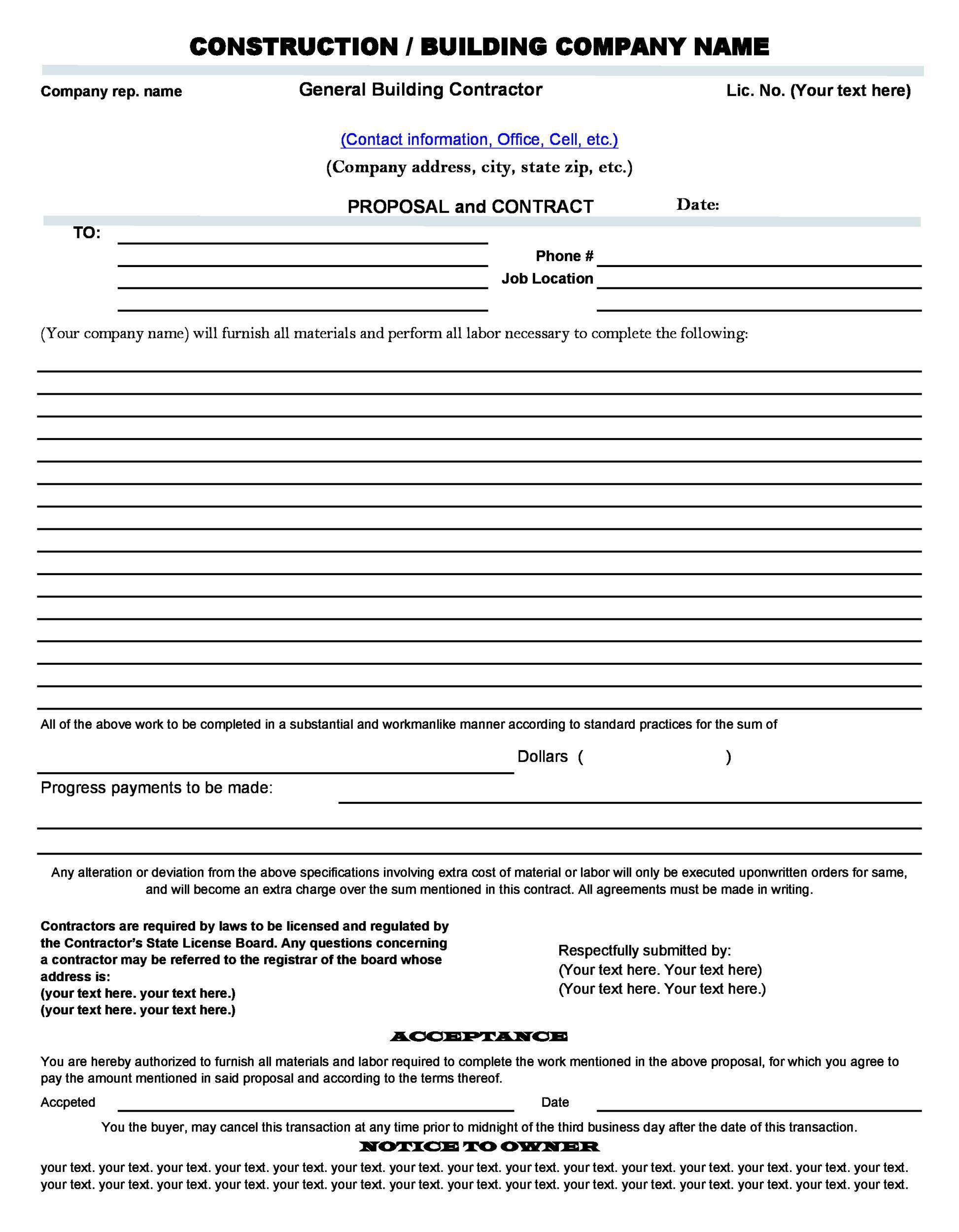 005 Best Free Construction Proposal Template Example  Bid Contractor WordFull