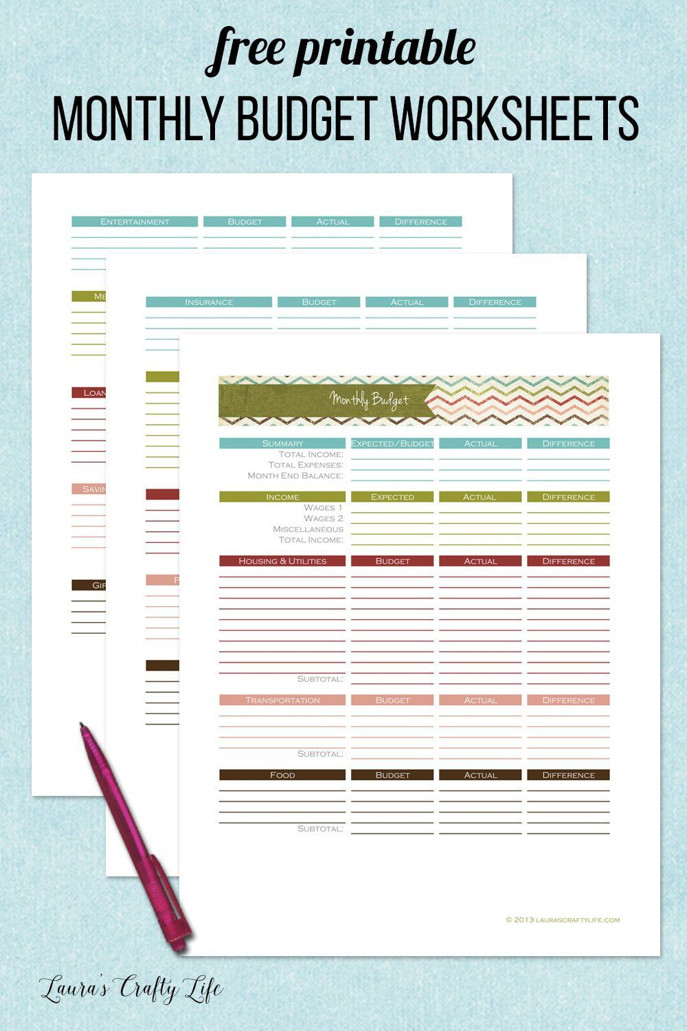 005 Best Free Printable Monthly Budget Form Inspiration  Simple Template Blank Household SheetFull