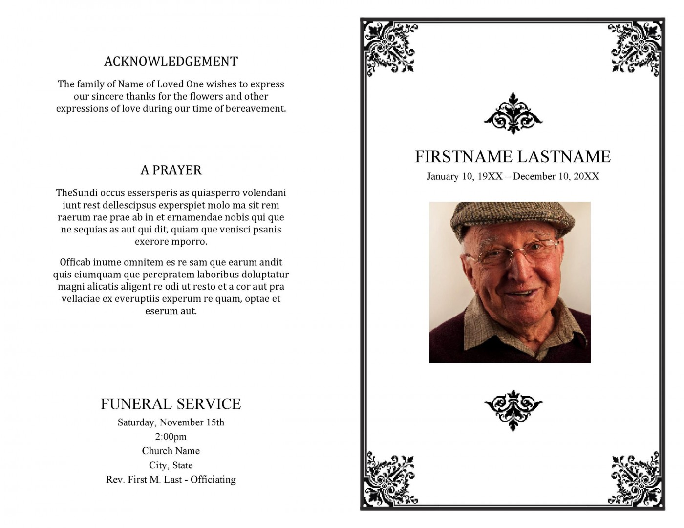 005 Best Funeral Program Template Free High Definition  Printable Design1400