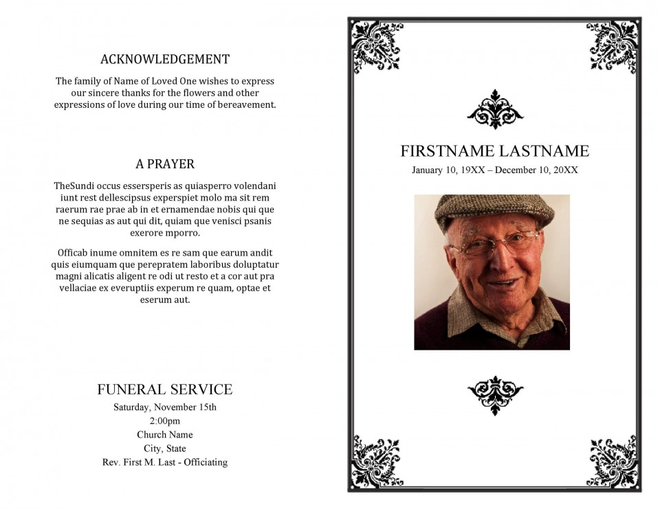 005 Best Funeral Program Template Free High Definition  Printable Design960