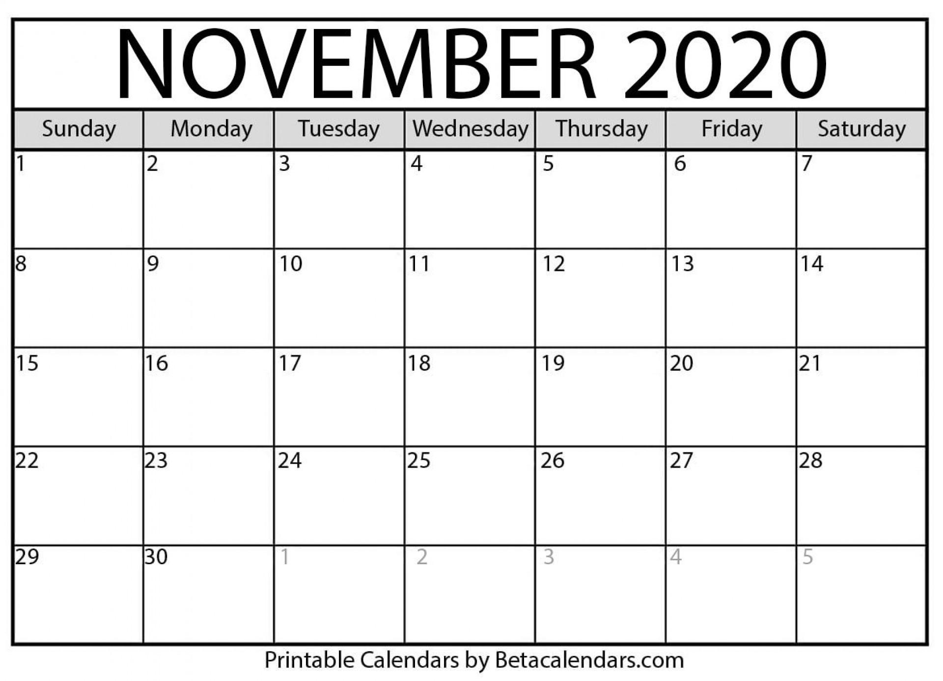 005 Best Printable Calendar Template November 2020 High Resolution  Free1920