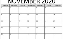 005 Best Printable Calendar Template November 2020 High Resolution  Free