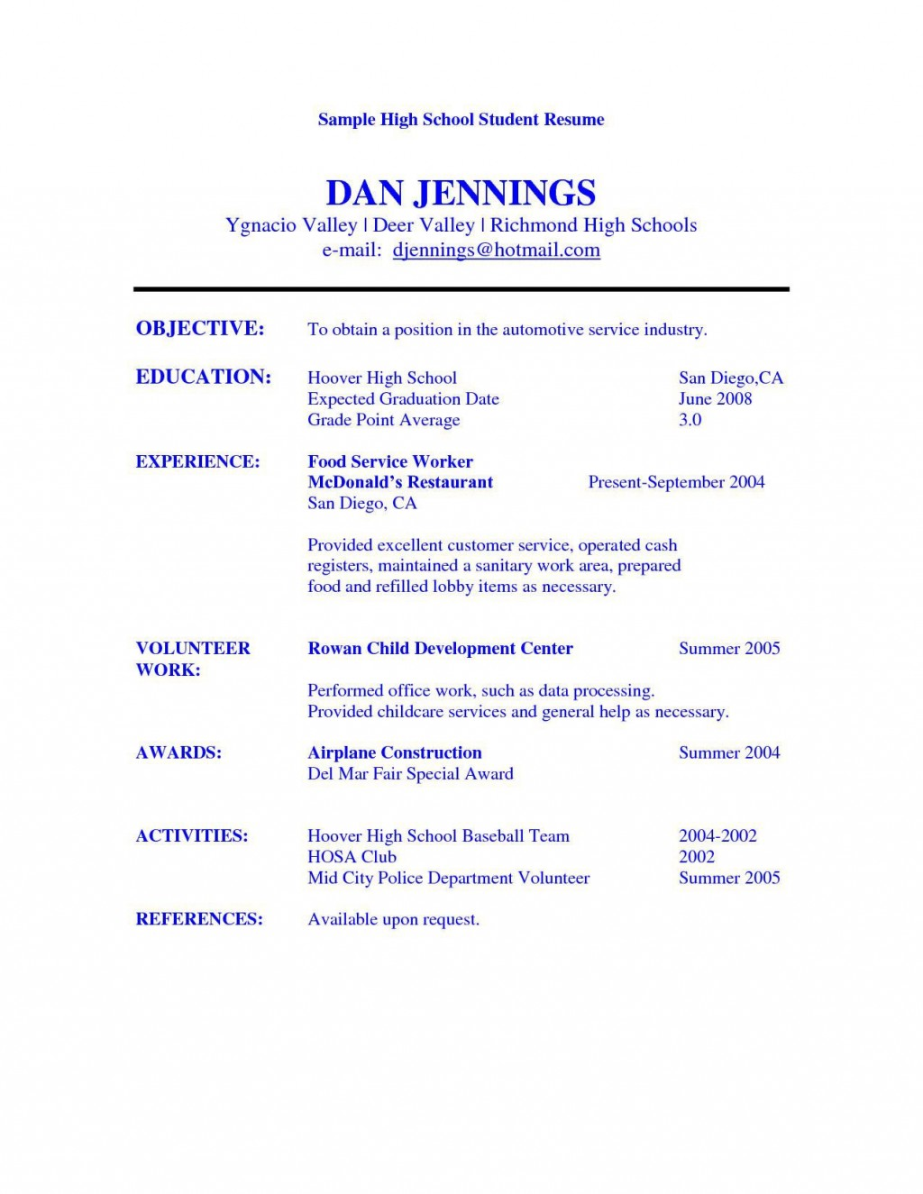 005 Best Resume Template High School Student Image  Students Easy For Curriculum Vitae Format Pdf Free DownloadableLarge