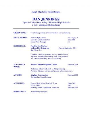 005 Best Resume Template High School Student Image  Sample First Job320