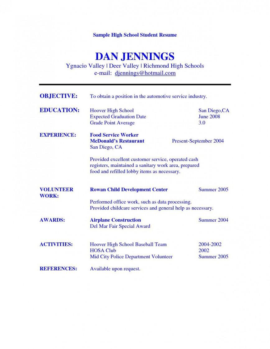 005 Best Resume Template High School Student Image  Students Australia Curriculum Vitae Format For Pdf Free