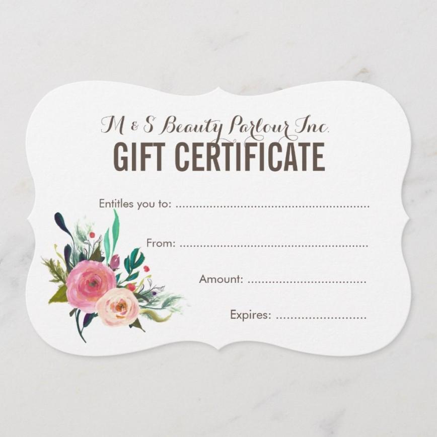 005 Best Salon Gift Certificate Template Photo  Templates