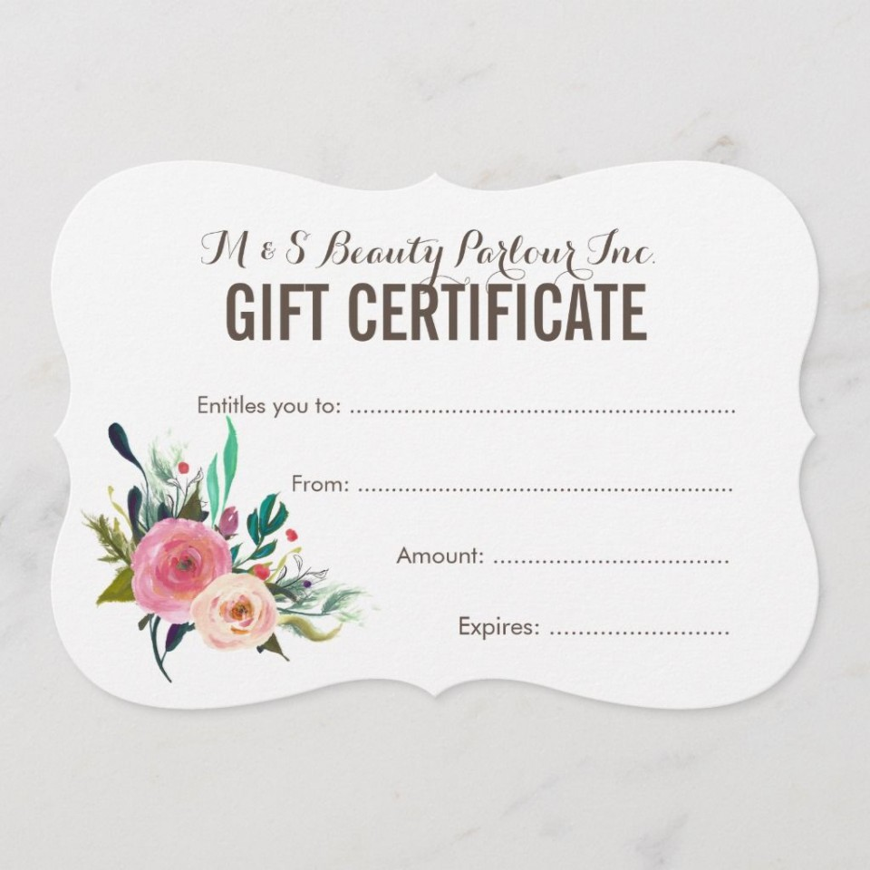 005 Best Salon Gift Certificate Template Photo 960