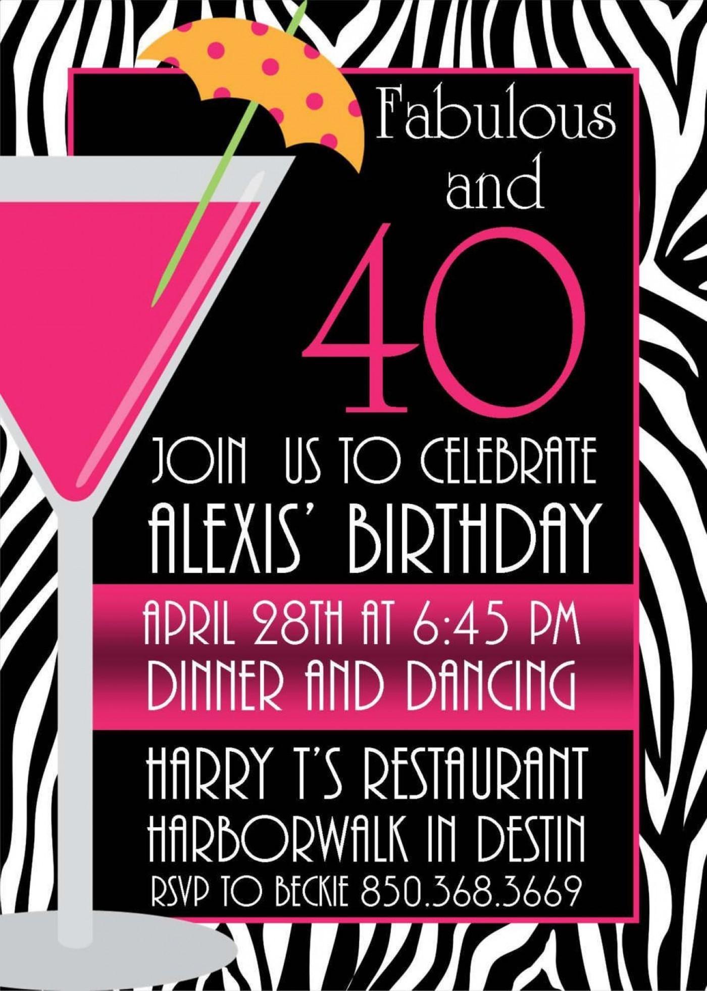 005 Breathtaking 40th Birthday Party Invite Template Free Design 1400