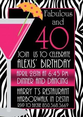005 Breathtaking 40th Birthday Party Invite Template Free Design 320