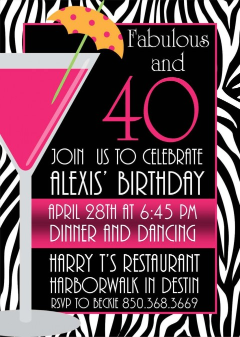 005 Breathtaking 40th Birthday Party Invite Template Free Design 480