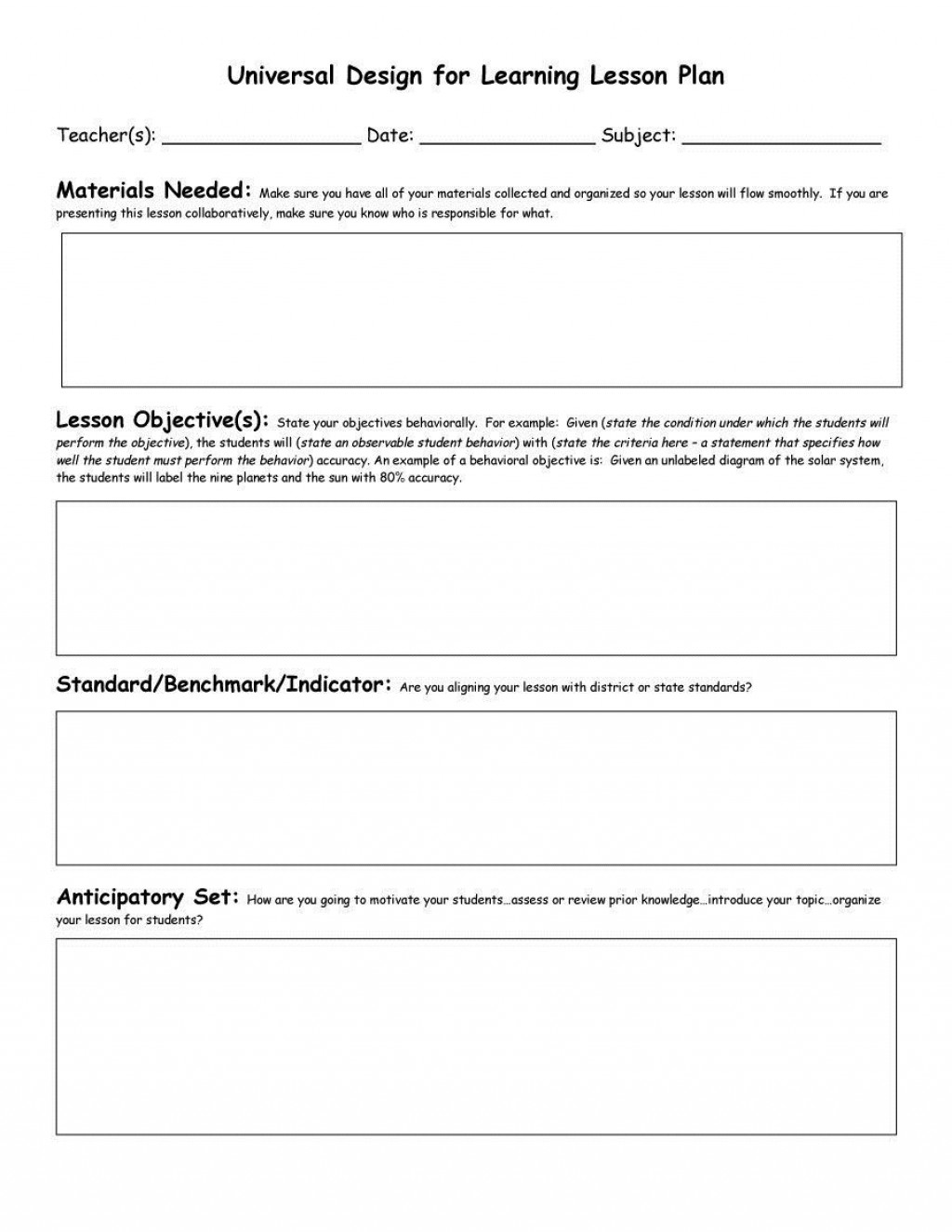005 Breathtaking Free Lesson Plan Template Word Picture  Preschool DocLarge
