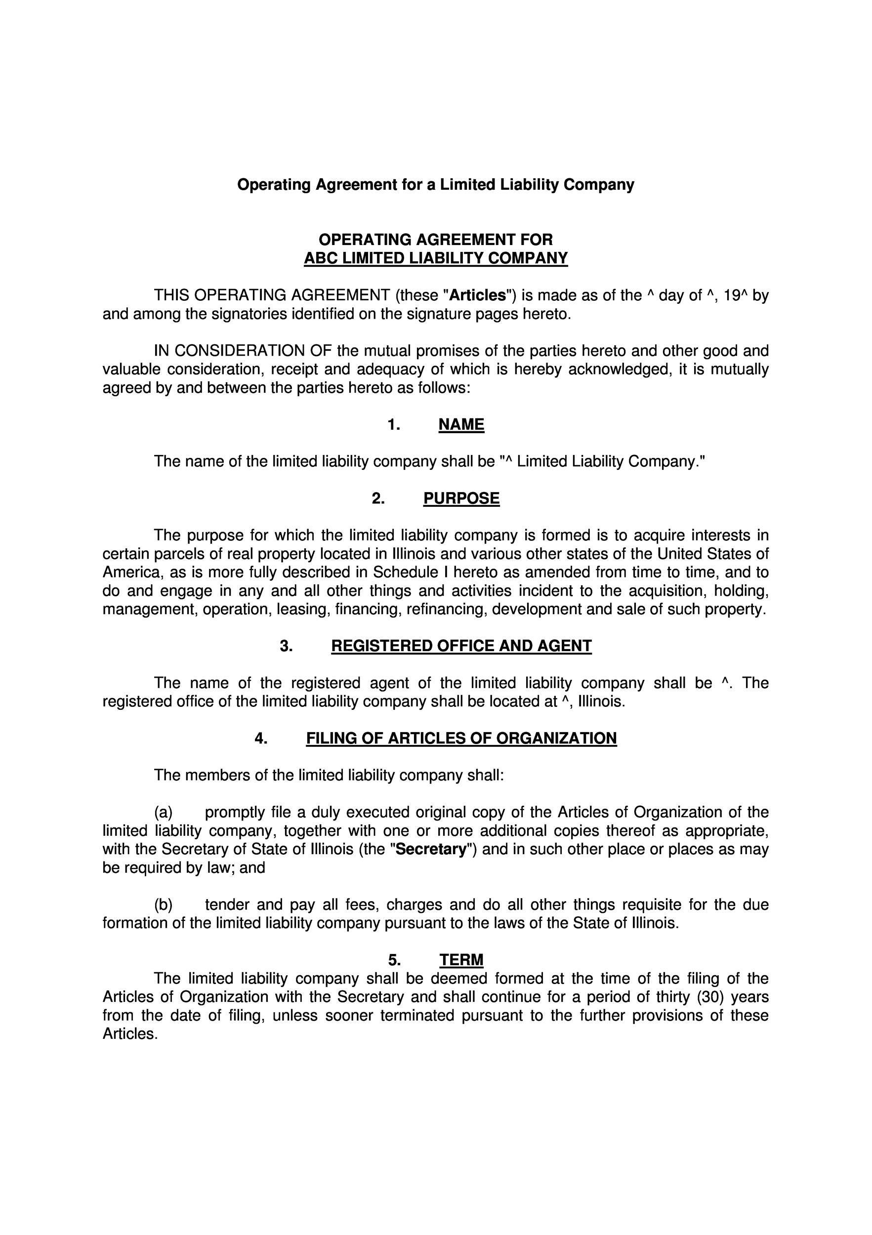 005 Breathtaking Free Operating Agreement Template Image  Pdf Missouri LlcFull
