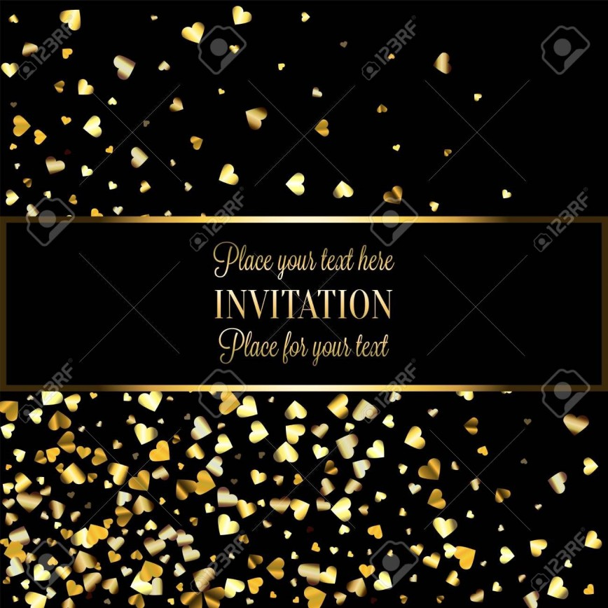 005 Dreaded Black And Gold Invitation Template Highest Quality  Card White Free Blank