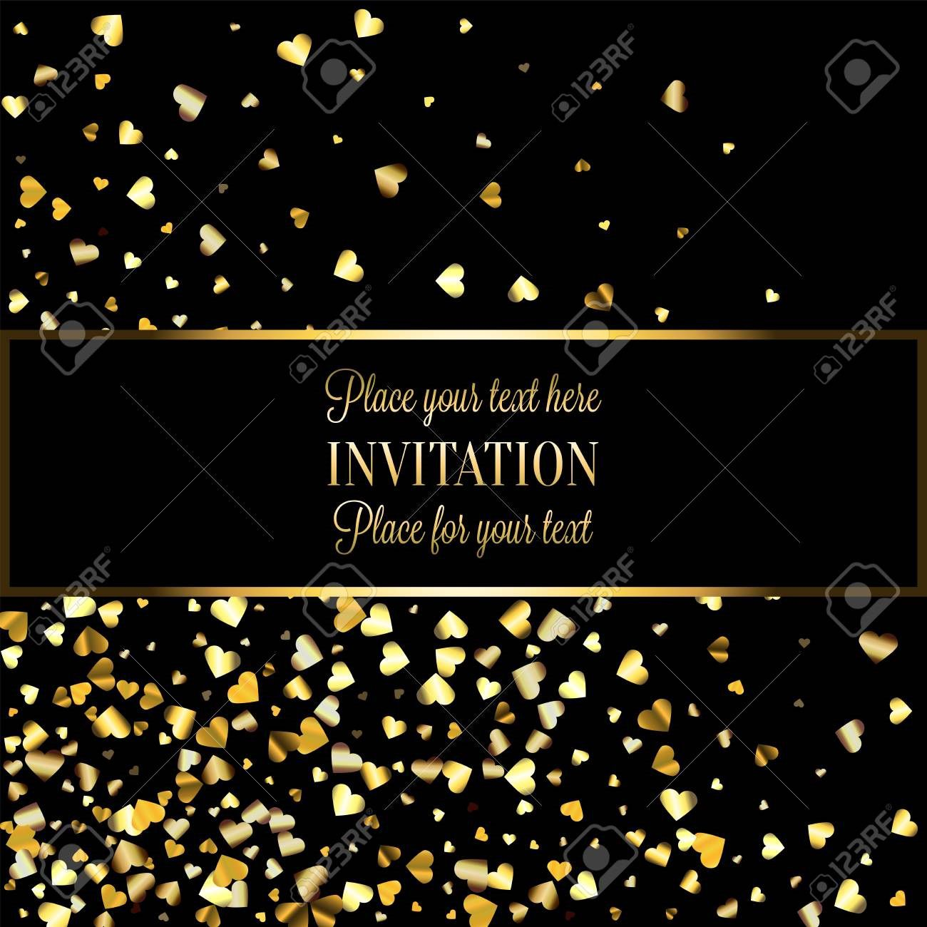 005 Dreaded Black And Gold Invitation Template Highest Quality  Design White Free PrintableFull