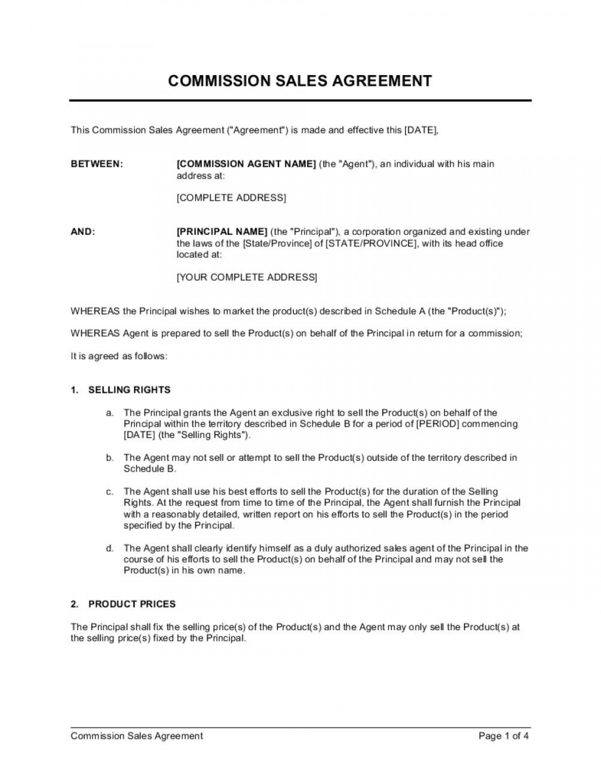 005 Dreaded Commission Sale Agreement Template Free Idea  Word International1920