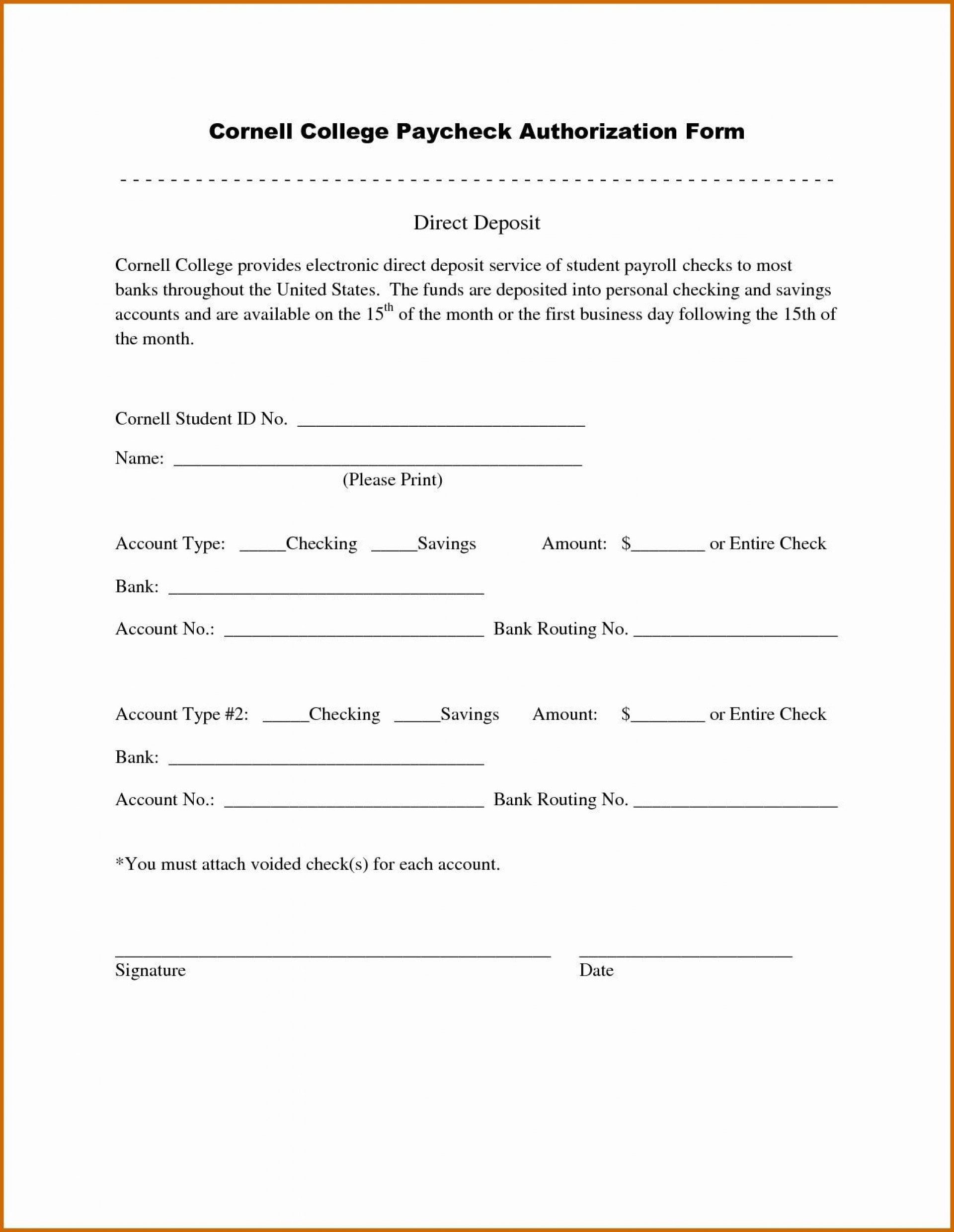 005 Dreaded Direct Deposit Form Template Example  Multiple Account Ach Authorization1920