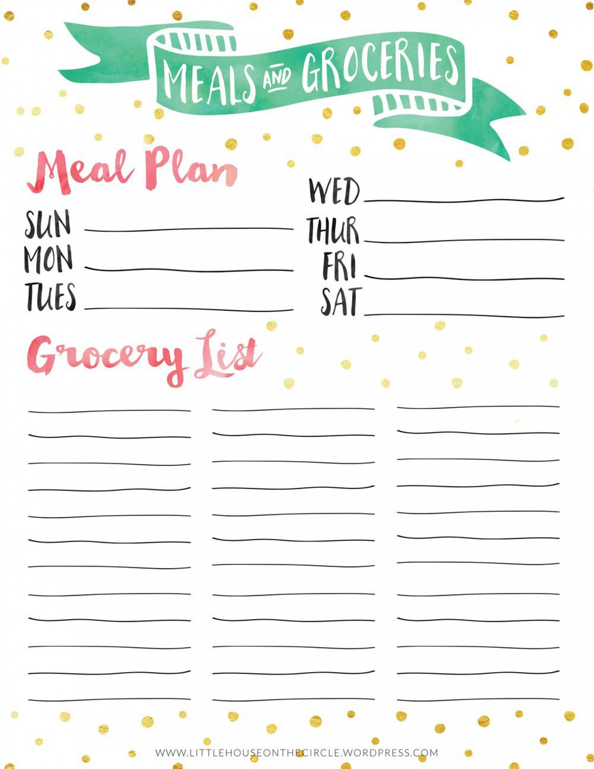 005 Dreaded Meal Plan With Printable Grocery List Inspiration  Planning Template Excel Free1920