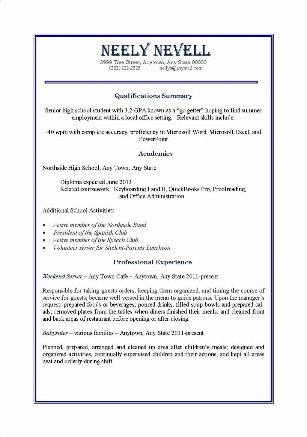 005 Dreaded Part Time Job Resume Template Idea  Student Summary ExampleLarge