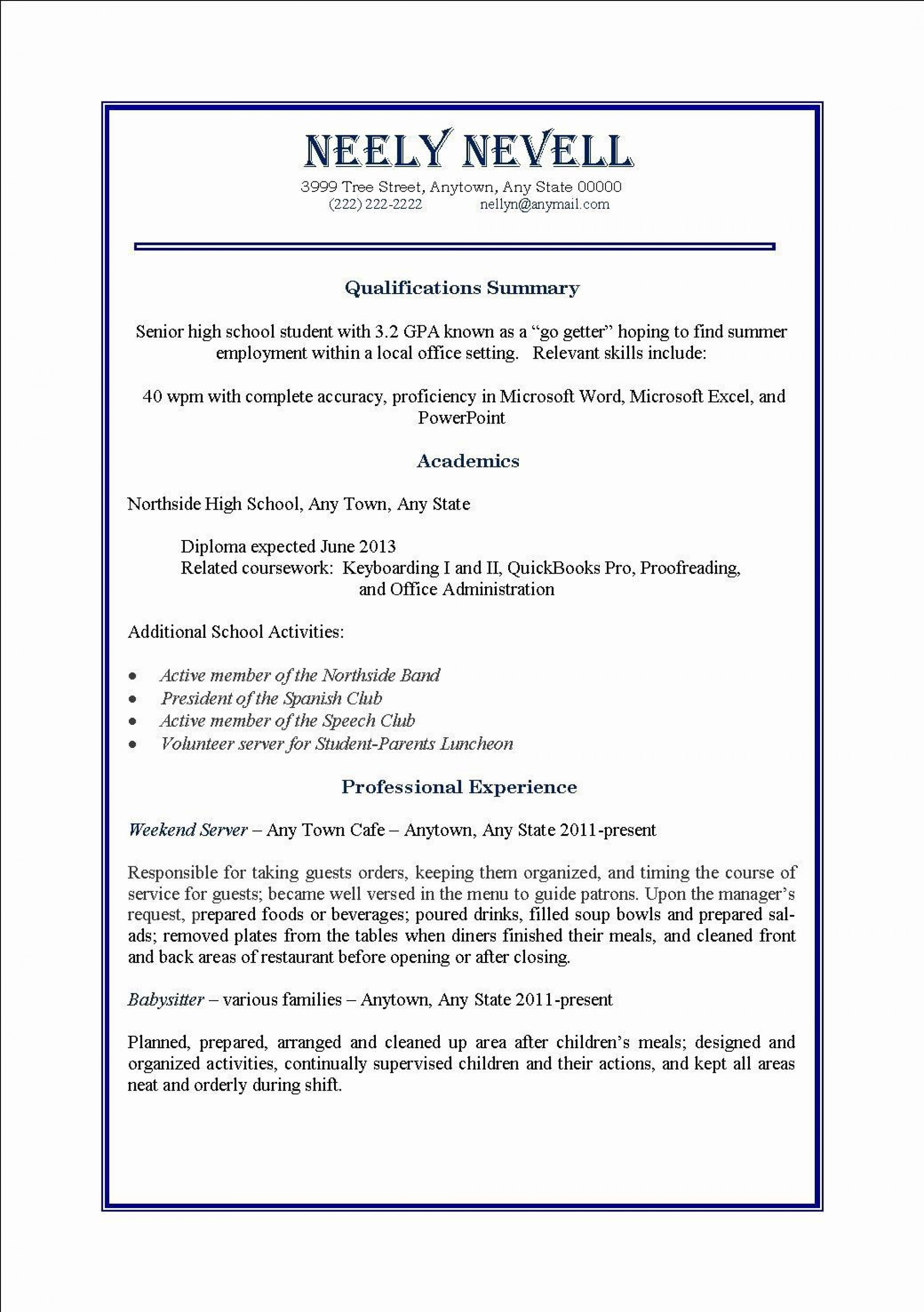 005 Dreaded Part Time Job Resume Template Idea  Student Summary Example1920