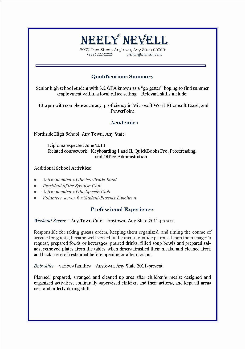 005 Dreaded Part Time Job Resume Template Idea  Student Summary ExampleFull