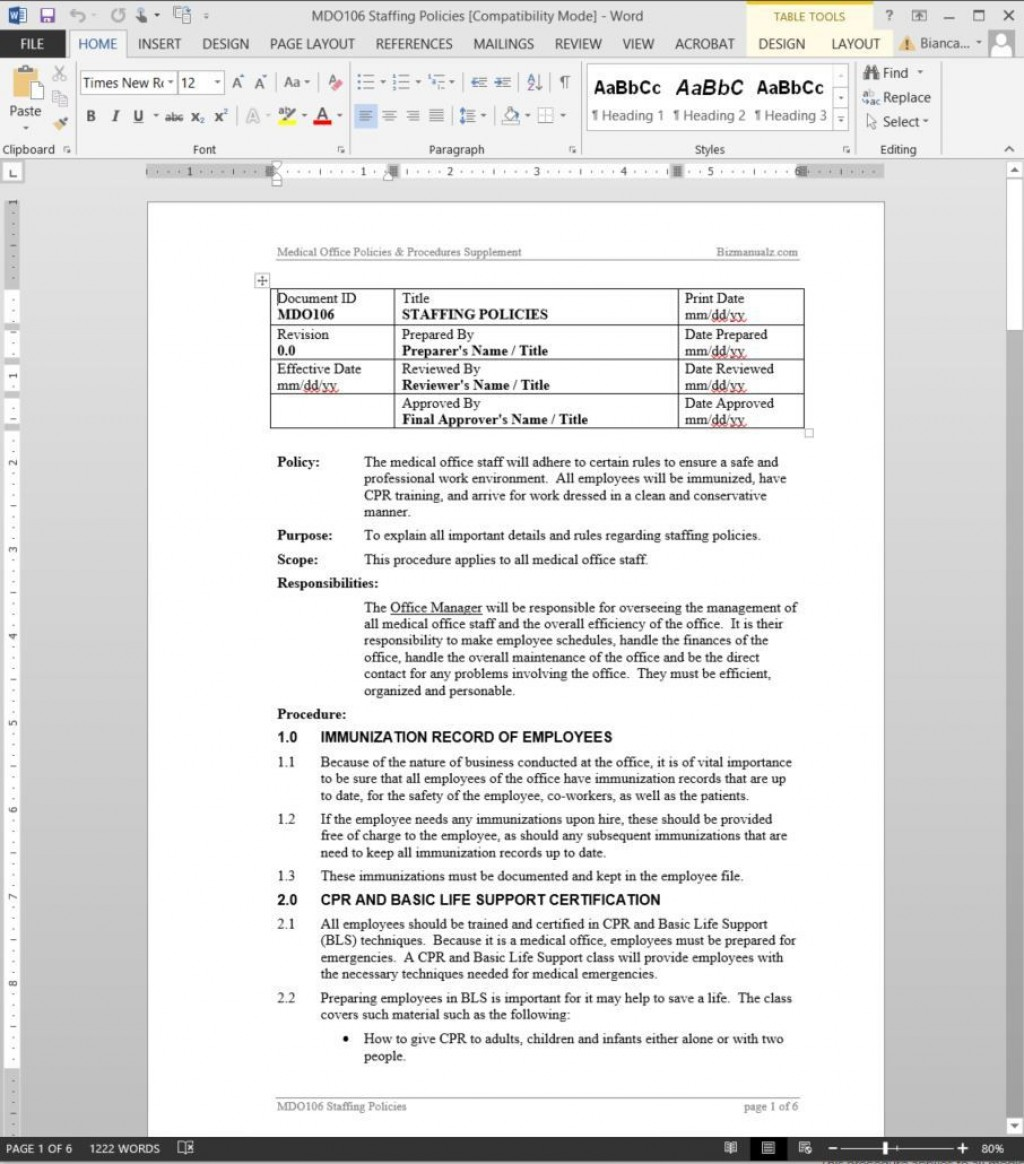 005 Dreaded Policy And Procedure Template Sample  Format Example Manual For Mental Health FreeLarge
