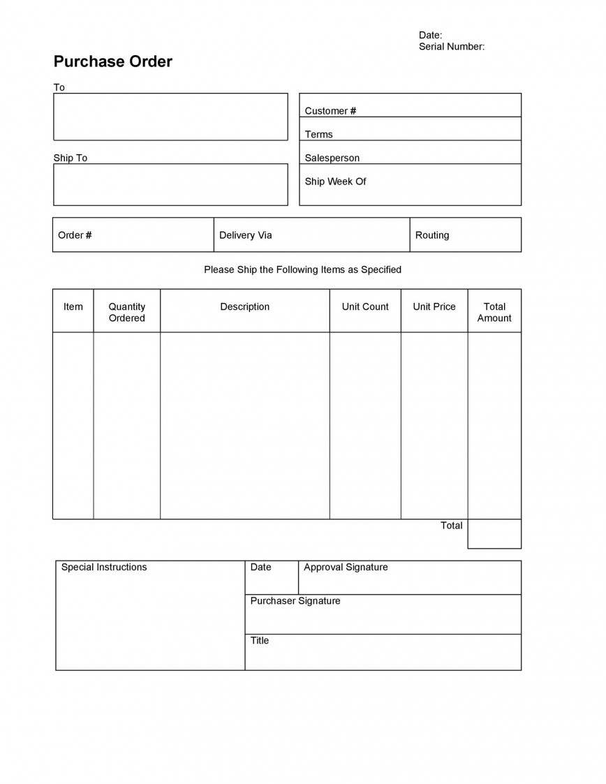 005 Dreaded Purchase Order Template Microsoft Word Idea  Free Form