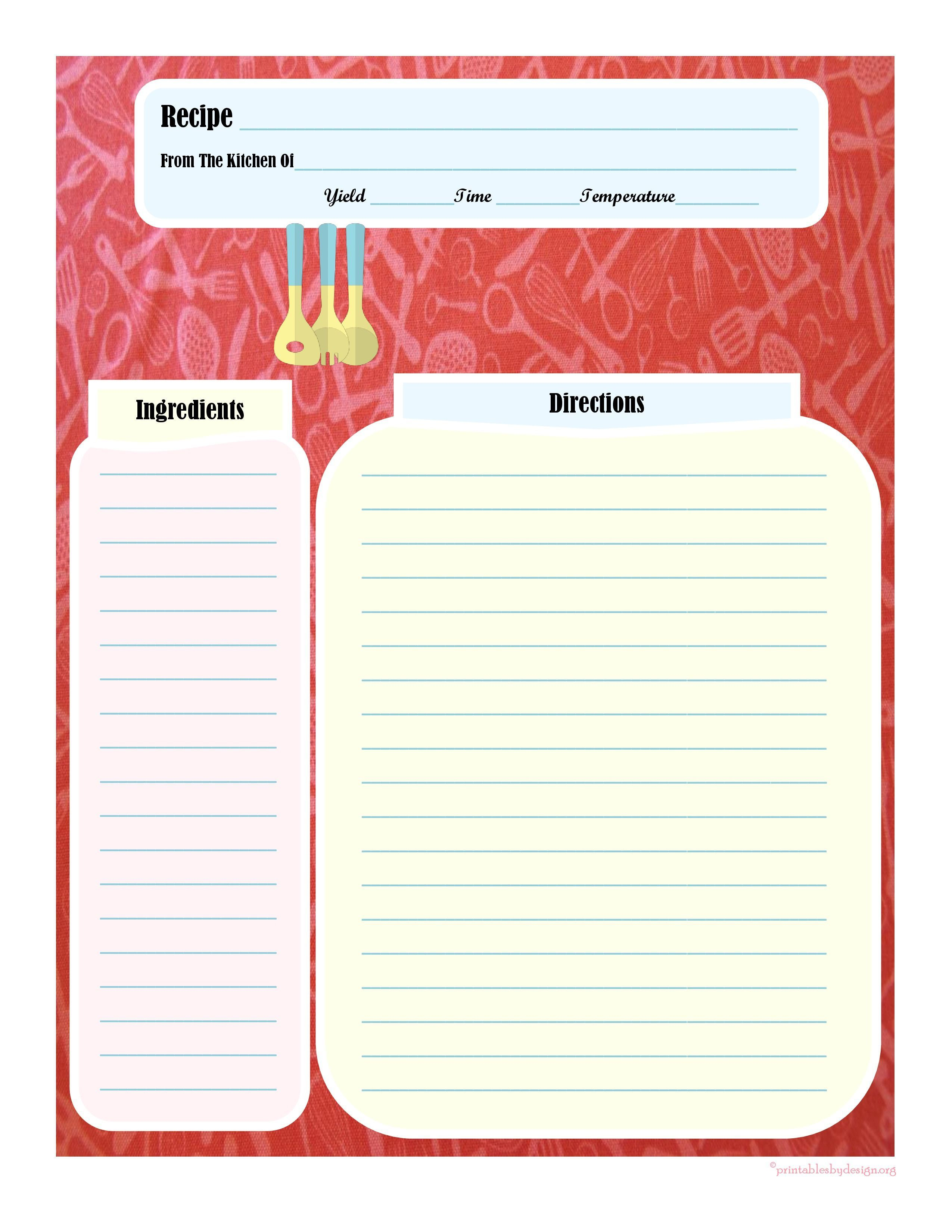 005 Dreaded Recipe Card Template For Word Example  Printable Blank FillableFull