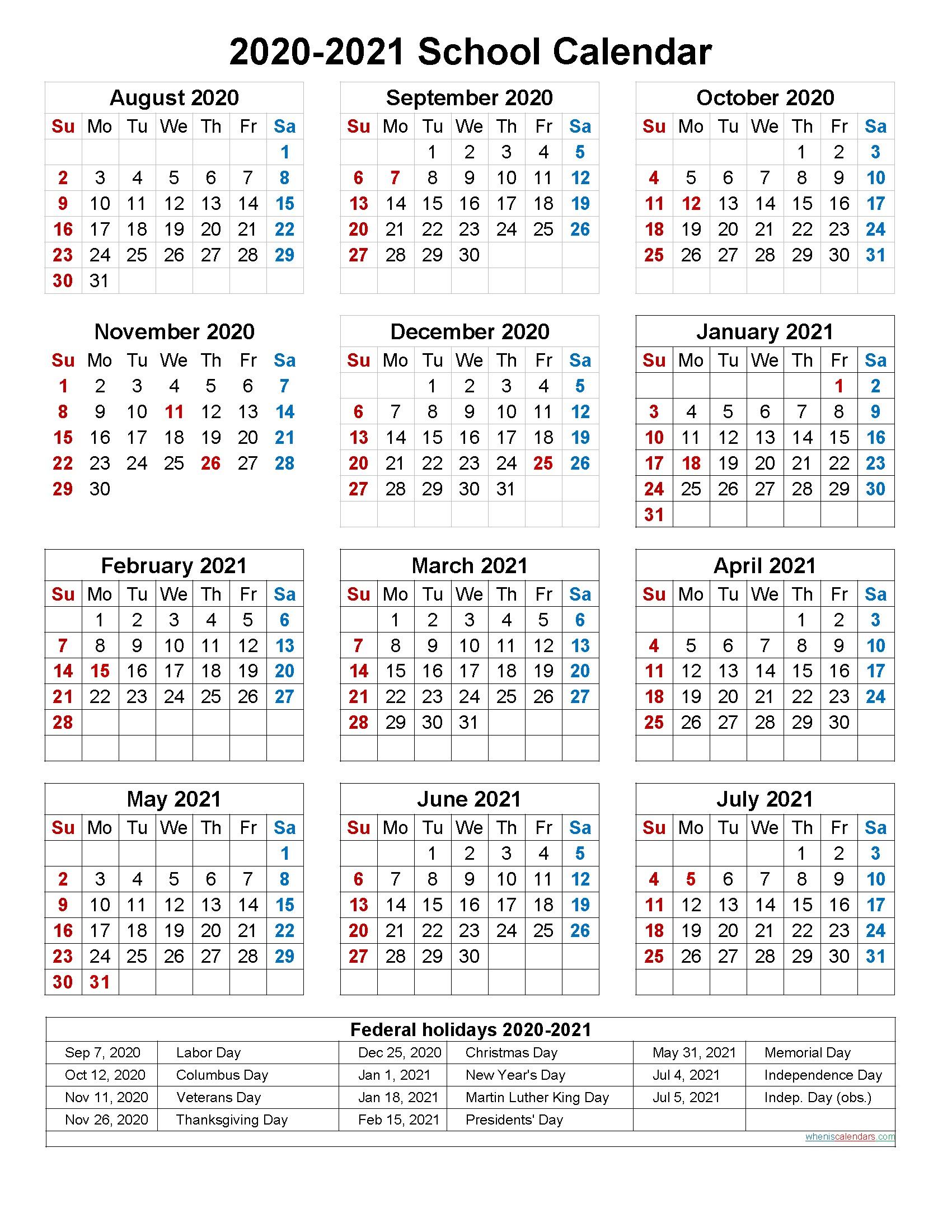 005 Dreaded School Year Calendar Template Image  Excel 2019-20 WordFull