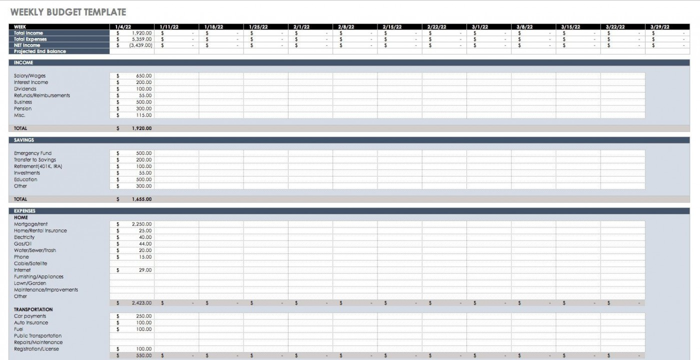 005 Dreaded Simple Weekly Budget Template Highest Quality  Planner Personal Printable1400