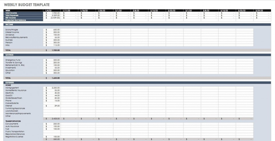 005 Dreaded Simple Weekly Budget Template Highest Quality  Planner Personal Printable960