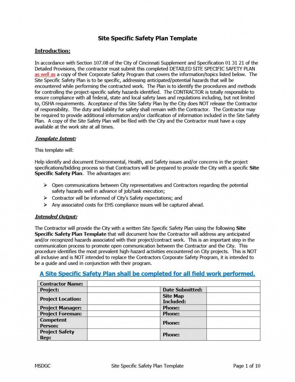 005 Dreaded Site Specific Safety Plan Template Doc Idea  WordLarge