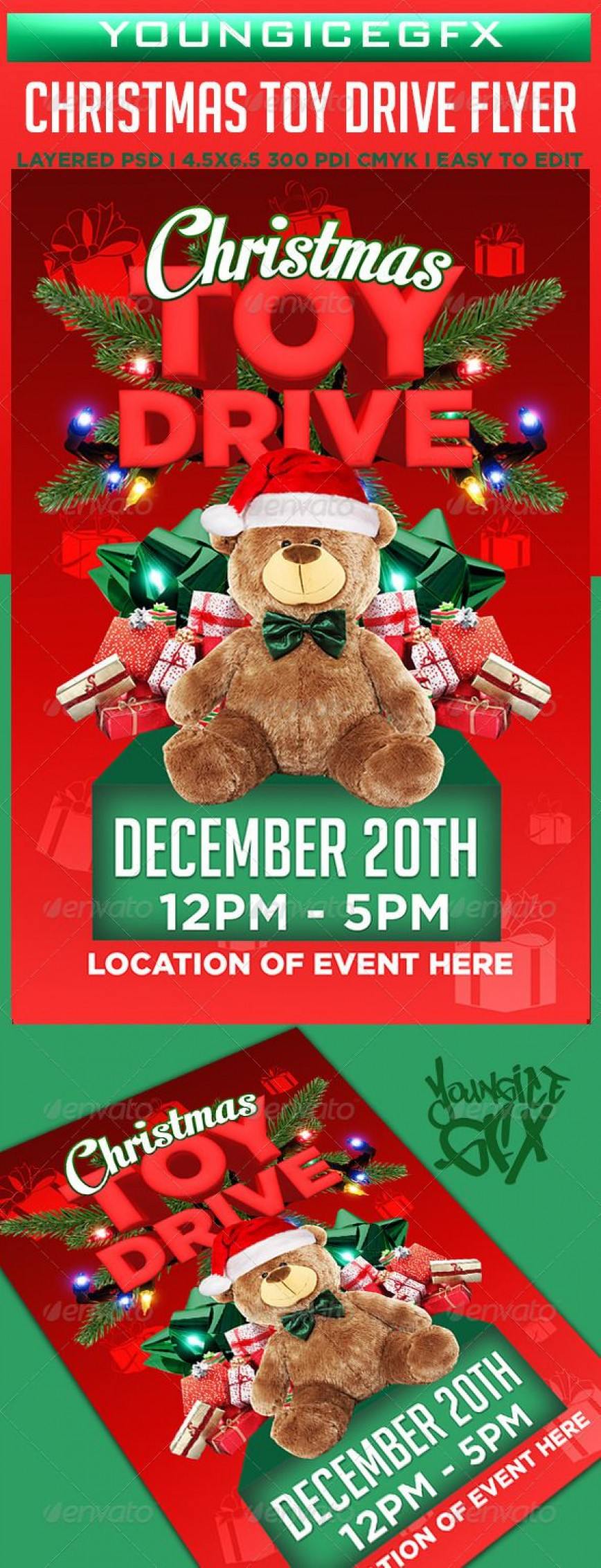005 Dreaded Toy Drive Flyer Template Design  Christma Free Download