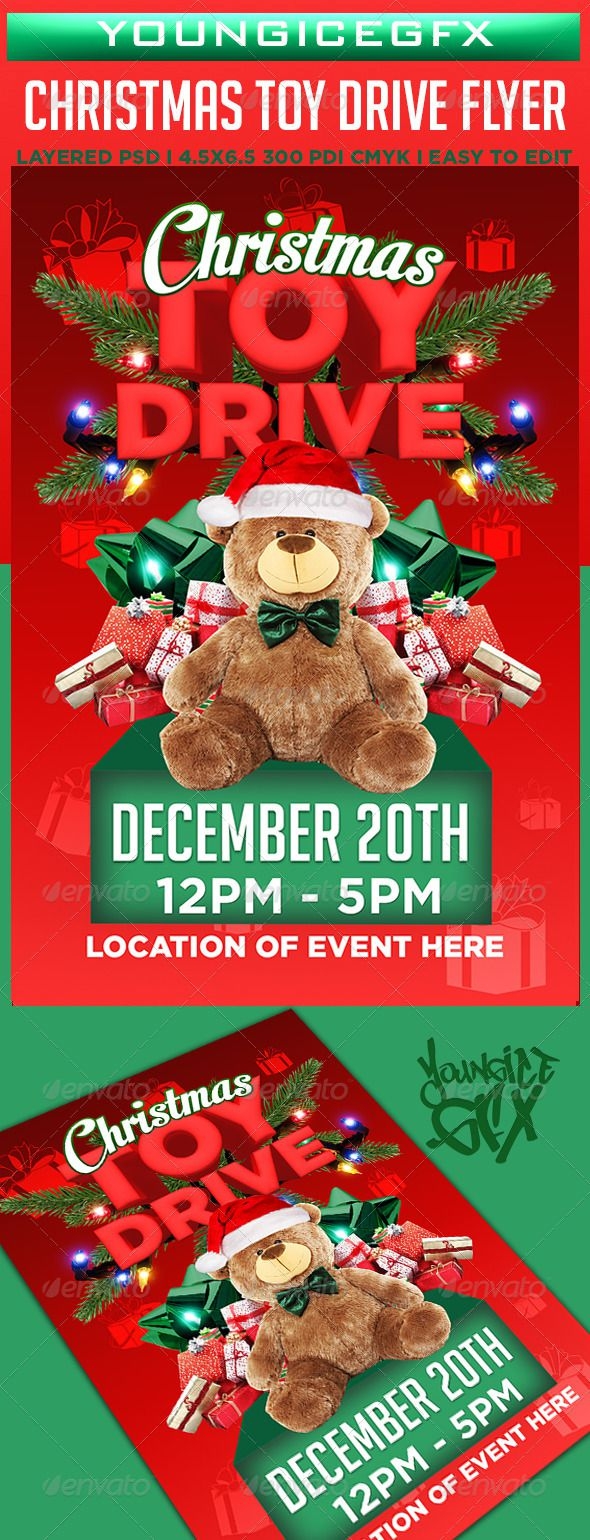 005 Dreaded Toy Drive Flyer Template Design  Holiday Download Free WordFull
