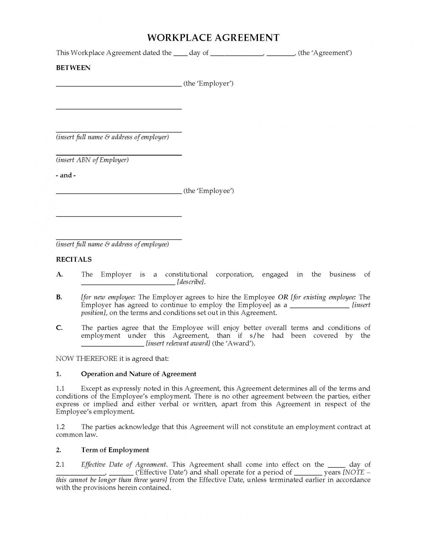 005 Excellent Australian Employment Contract Template Free High Definition Full