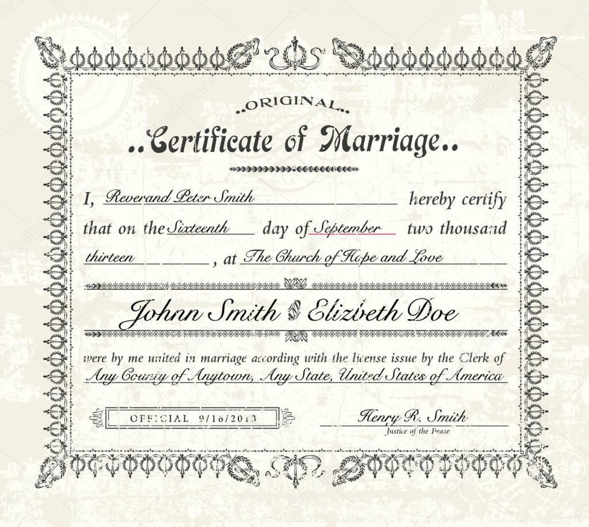 005 Excellent Certificate Of Marriage Template Image  Word Australia1920