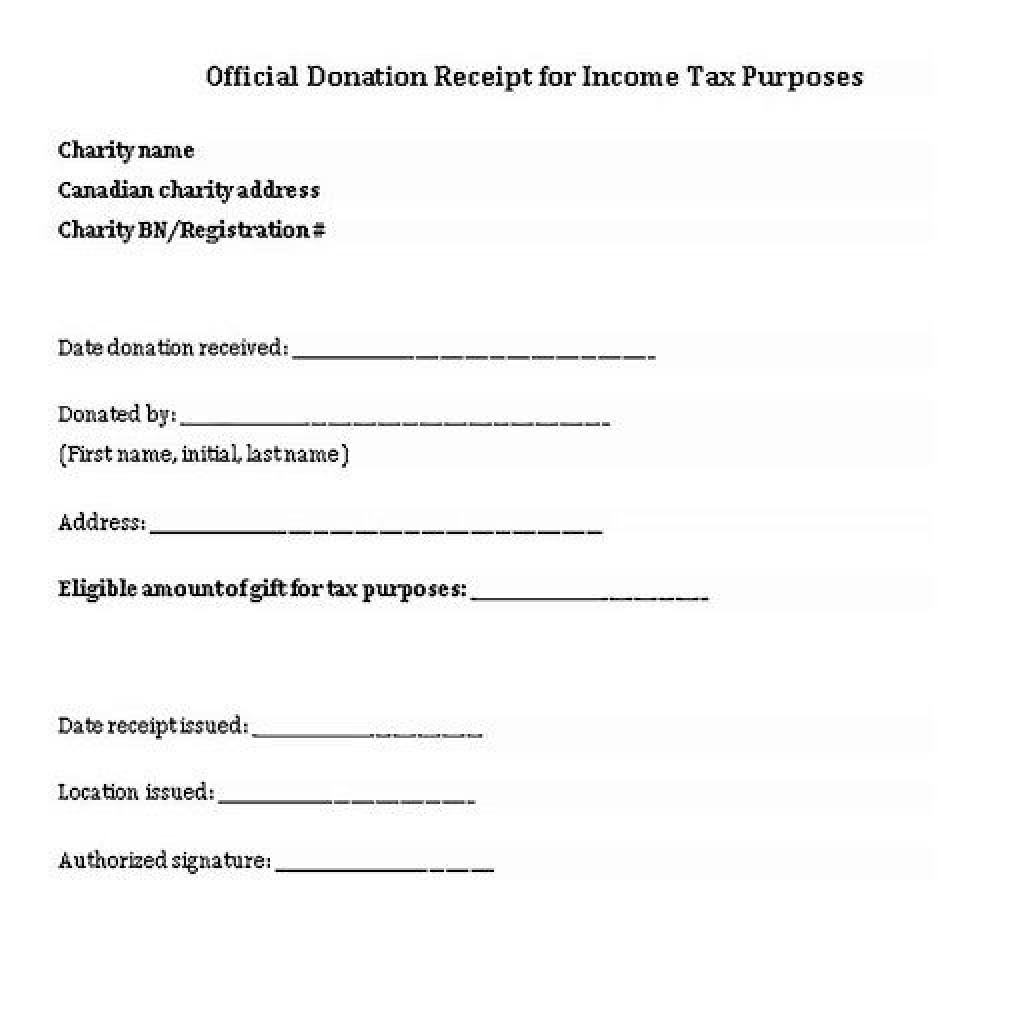 005 Excellent Charitable Tax Receipt Template Highest Quality  DonationLarge