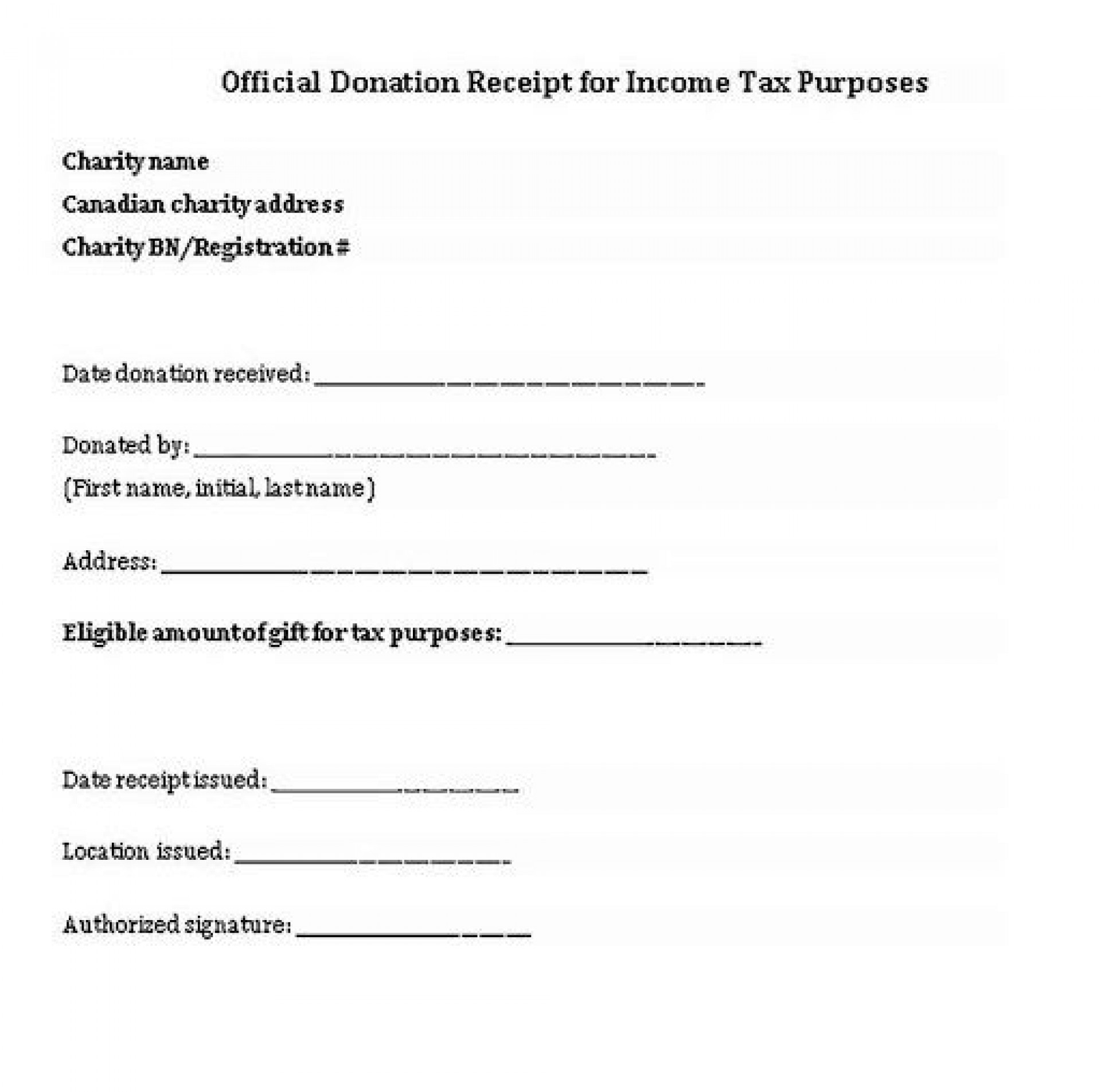 005 Excellent Charitable Tax Receipt Template Highest Quality  Donation1920
