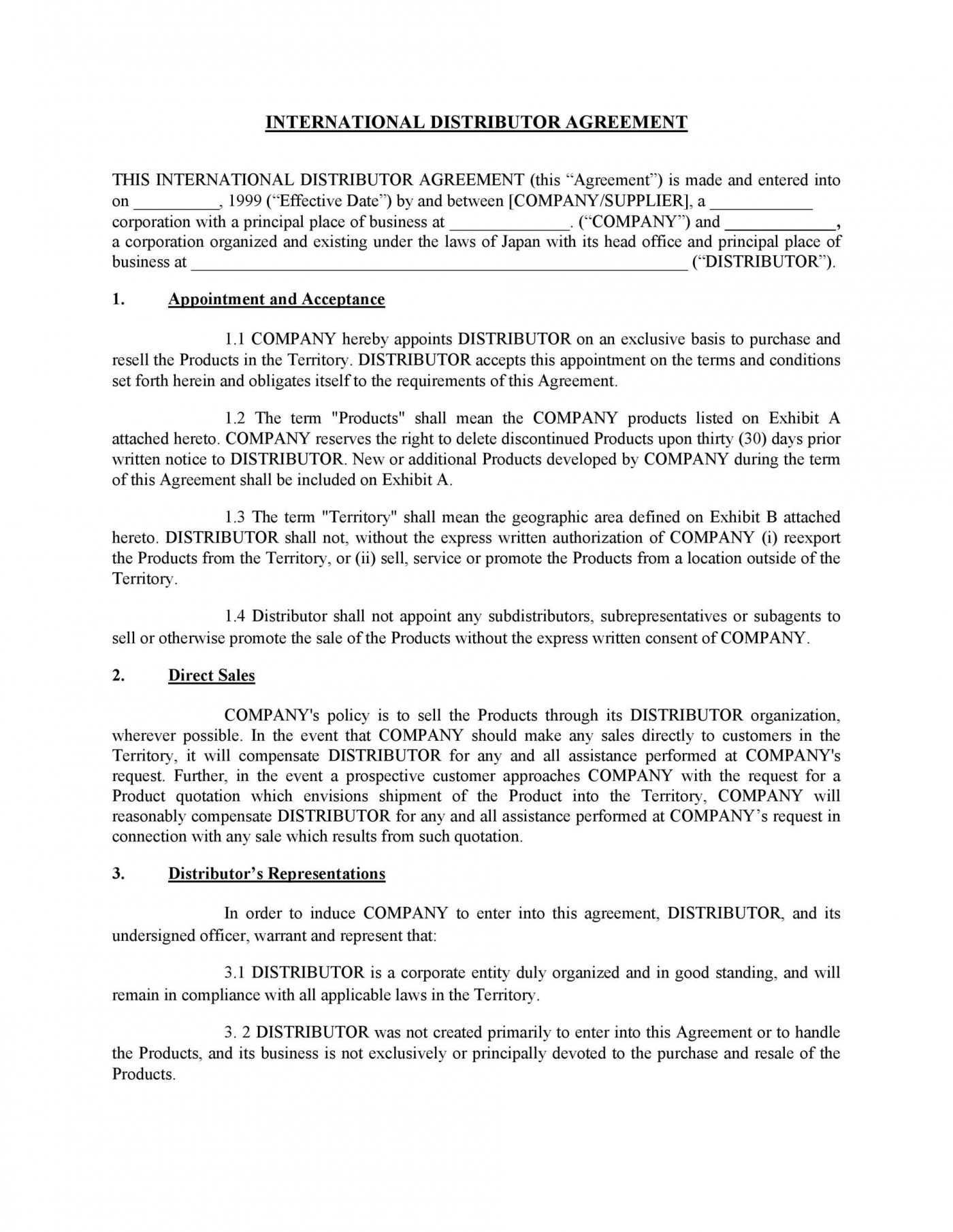005 Excellent Exclusive Distribution Agreement Template Word Highest Quality  Format1400