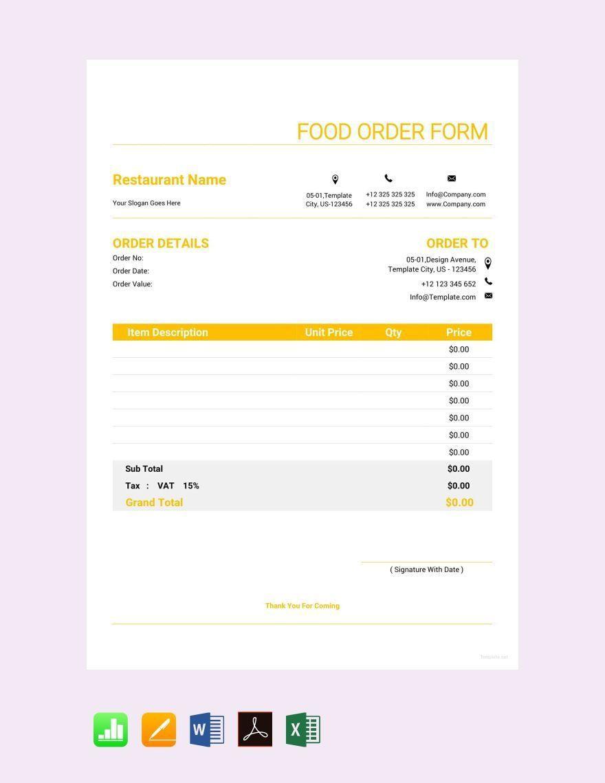 005 Excellent Food Order Form Template Word Design Full