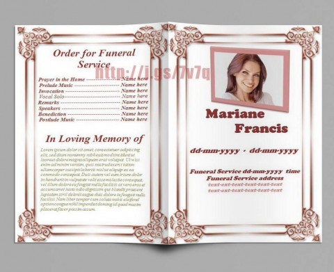 005 Excellent Free Editable Celebration Of Life Program Template Design 480