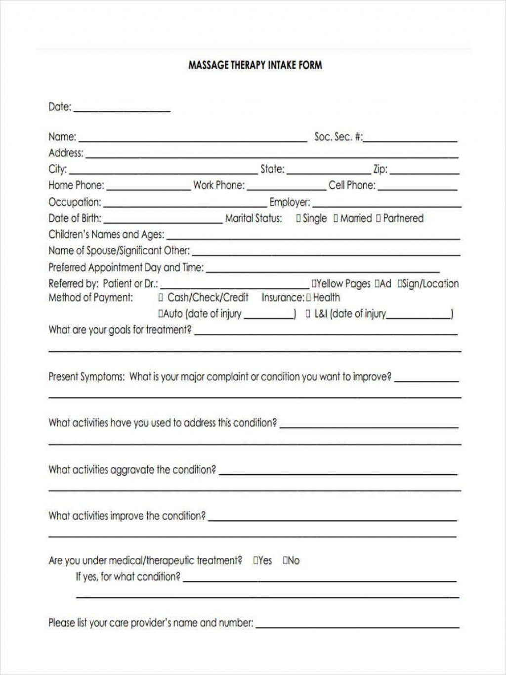 005 Excellent Free Patient Intake Form Template Photo  Massage Client NewLarge