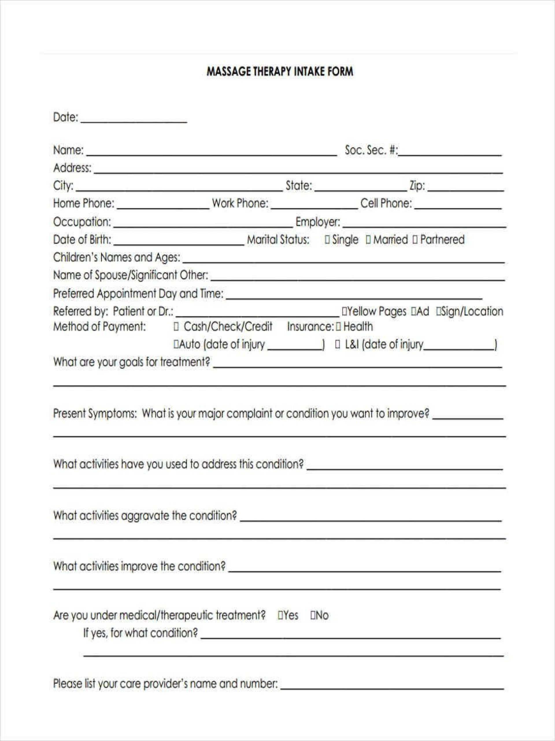 005 Excellent Free Patient Intake Form Template Photo  Massage Client New1920