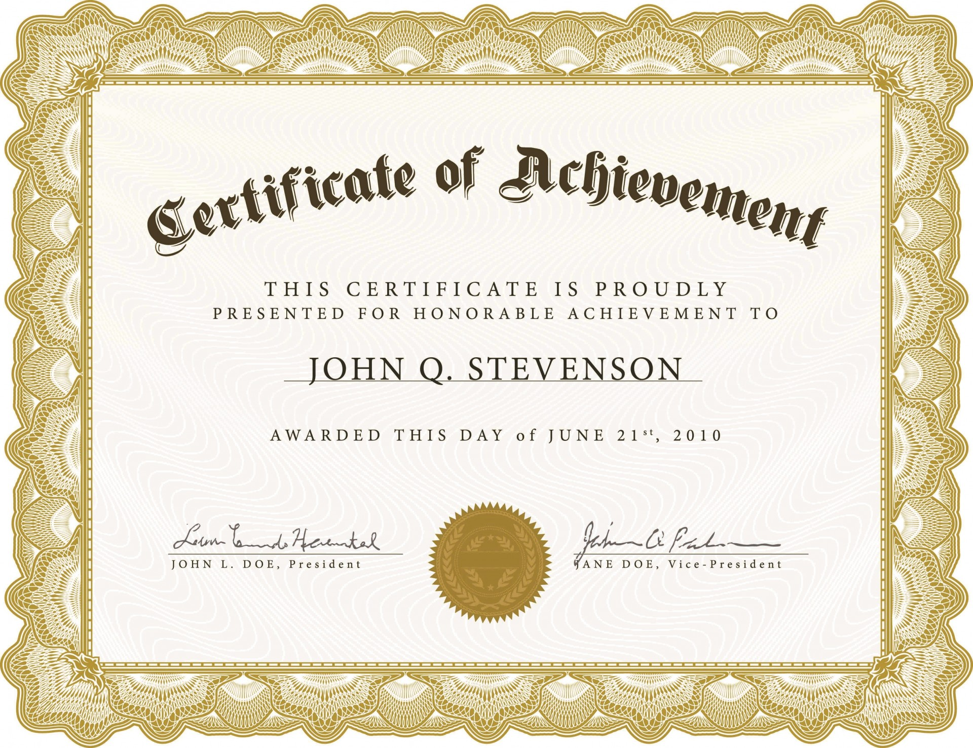 005 Excellent Free Printable Blank Certificate Template Image  Templates Gift Of Achievement1920